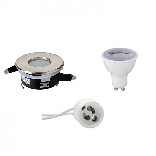 LED Spot Set - Aigi - GU10 Fitting - Waterdicht IP65 - Dimbaar - Inbouw Rond - Mat Chroom - 6W - Hel