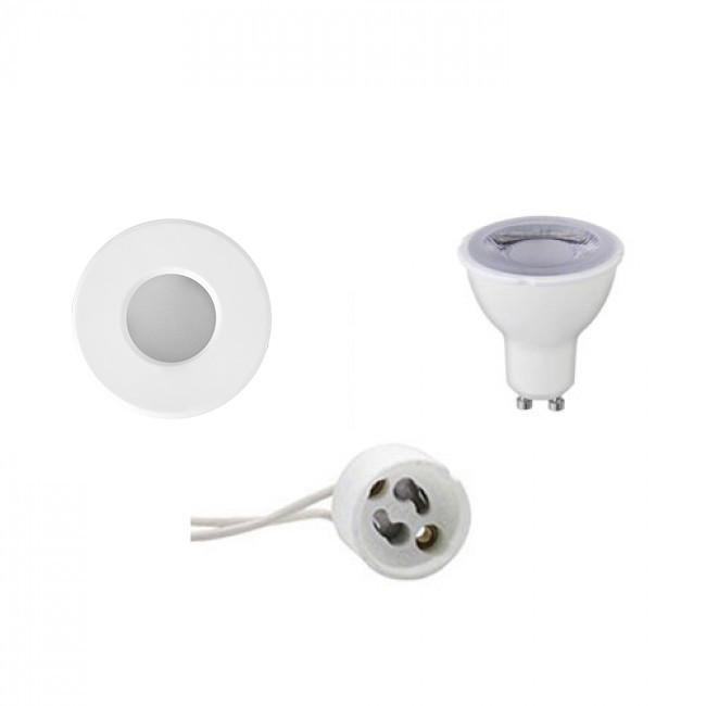 LED Spot Set - Aigi - GU10 Fitting - Waterdicht IP65 - Dimbaar - Inbouw Rond - Mat Wit - 6W - Warm W