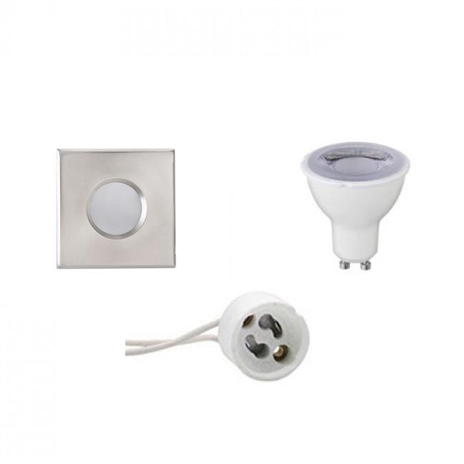 LED Spot Set - Aigi - GU10 Fitting - Waterdicht IP65 - Dimbaar - Inbouw Vierkant - Mat Chroom - 6W -