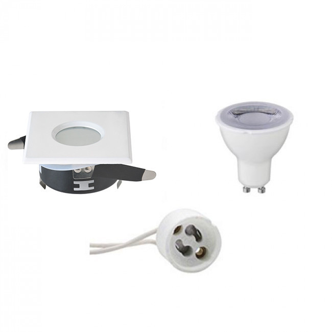 LED Spot Set - Aigi - GU10 Fitting - Waterdicht IP65 - Dimbaar - Inbouw Vierkant - Mat Wit - 6W - Na
