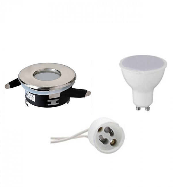 LED Spot Set - Aigi - GU10 Fitting - Waterdicht IP65 - Inbouw Rond - Mat Chroom - 6W - Helder/Koud W