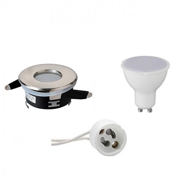 LED Spot Set - GU10 Fitting - Waterdicht IP65 - Inbouw Rond - Mat Chroom - 6W - Warm Wit 3000K - Ø82