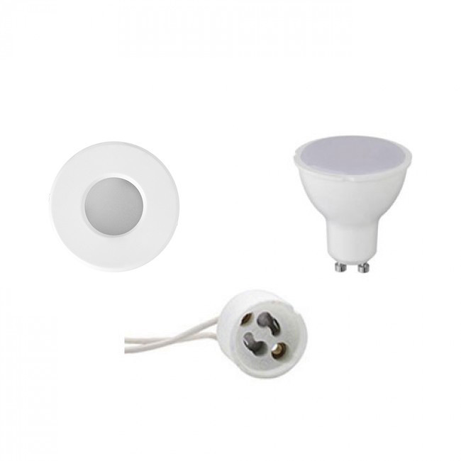 LED Spot Set - Aigi - GU10 Fitting - Waterdicht IP65 - Inbouw Rond - Mat Wit - 4W - Warm Wit 3000K -