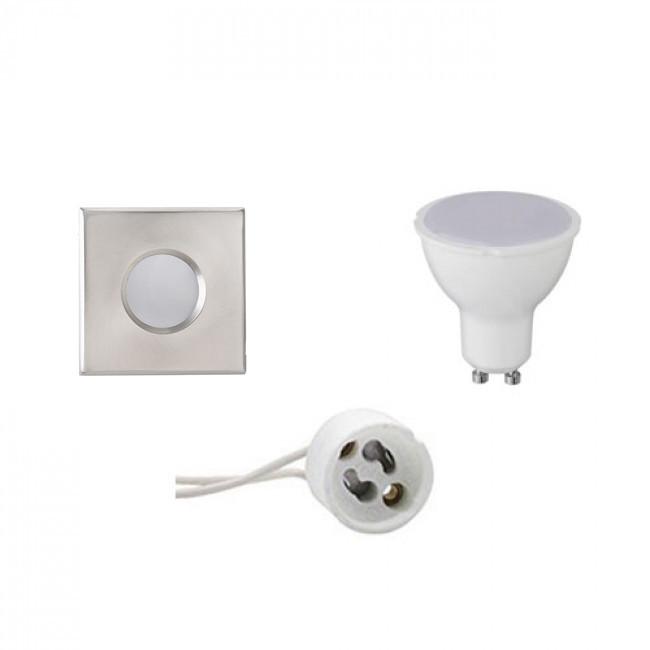 LED Spot Set - Aigi - GU10 Fitting - Waterdicht IP65 - Inbouw Vierkant - Mat Chroom - 6W - Natuurlij