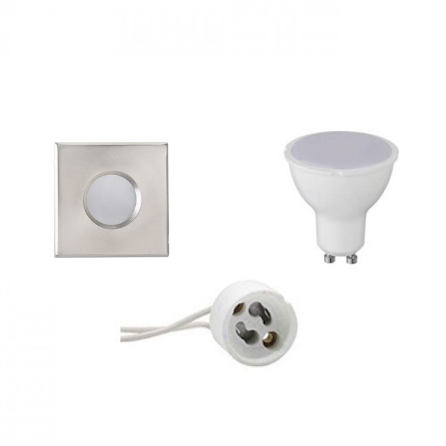 LED Spot Set - Aigi - GU10 Fitting - Waterdicht IP65 - Inbouw Vierkant - Mat Chroom - 6W - Warm Wit
