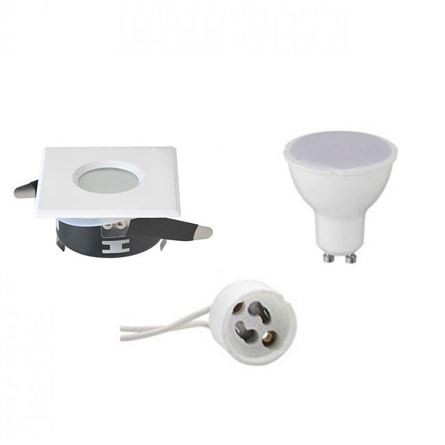 LED Spot Set - Aigi - GU10 Fitting - Waterdicht IP65 - Inbouw Vierkant - Mat Wit - 6W - Natuurlijk W