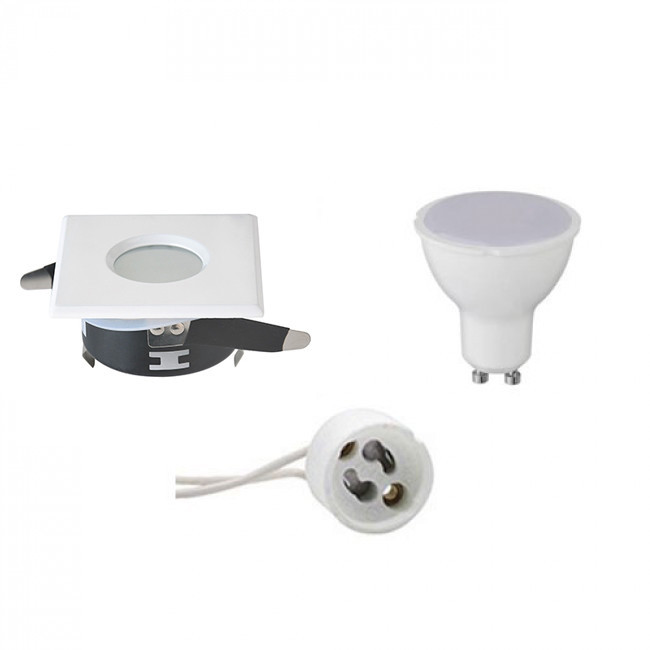 LED Spot Set - Aigi - GU10 Fitting - Waterdicht IP65 - Inbouw Vierkant - Mat Wit - 4W - Natuurlijk W