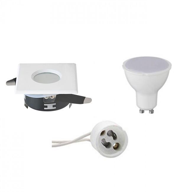 LED Spot Set - Aigi - GU10 Fitting - Waterdicht IP65 - Inbouw Vierkant - Mat Wit - 8W - Natuurlijk W