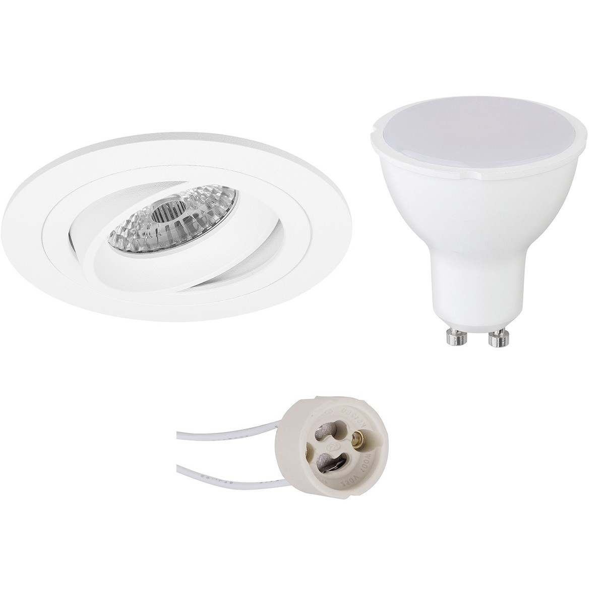 LED Spot Set - Aigi - Pragmi Alpin Pro - GU10 Fitting - Inbouw Rond - Mat Wit - 8W - Helder/Koud Wit