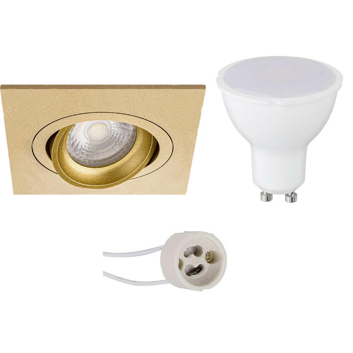 LED Spot Set - Pragmi Borny Pro - GU10 Fitting - Dimbaar - Inbouw Vierkant - Mat Goud - 6W - Natuurl
