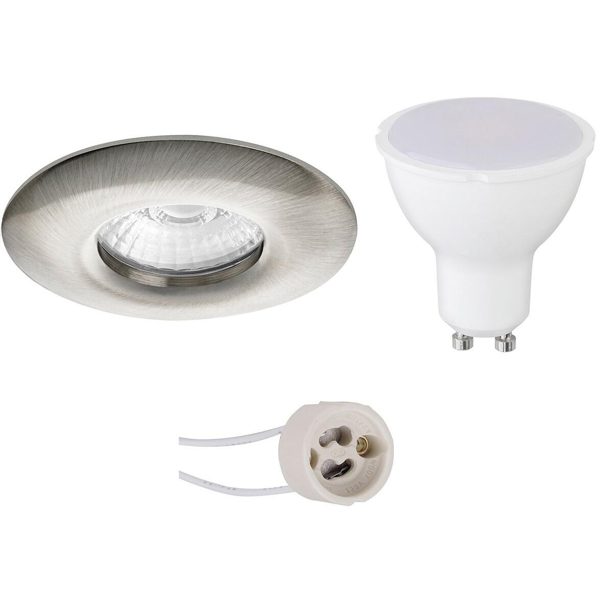 LED Spot Set - Pragmi Luno Pro - Waterdicht IP65 - GU10 Fitting - Inbouw Rond - Mat Nikkel - 6W - He
