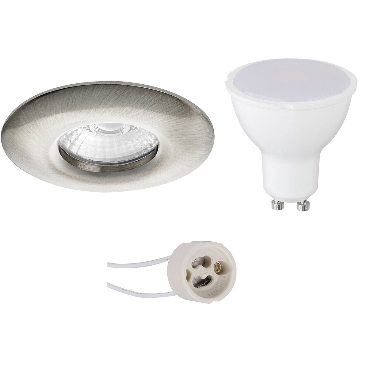 LED Spot Set - Pragmi Luno Pro - Waterdicht IP65 - GU10 Fitting - Dimbaar - Inbouw Rond - Mat Nikkel