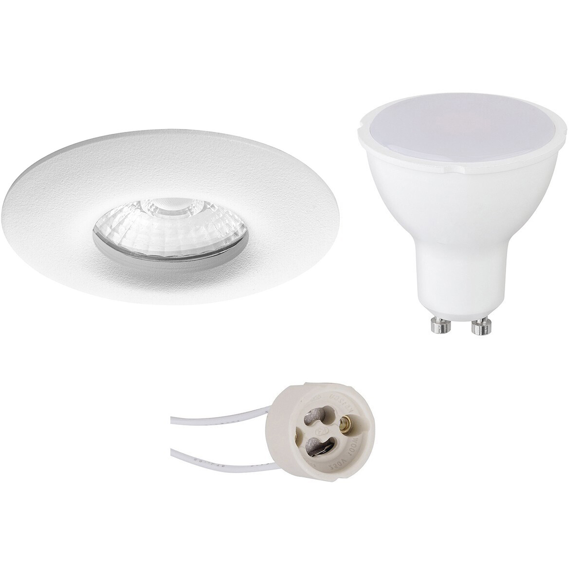 LED Spot Set - Pragmi Luno Pro - Waterdicht IP65 - GU10 Fitting - Dimbaar - Inbouw Rond - Mat Wit -