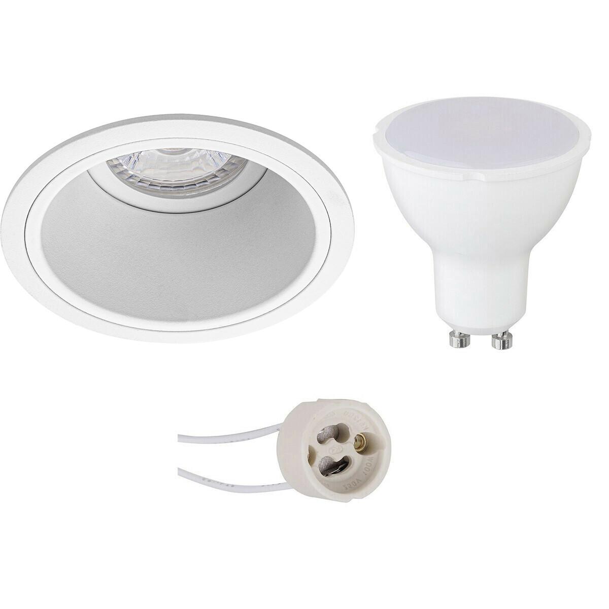 LED Spot Set - Pragmi Minko Pro - GU10 Fitting - Dimbaar - Inbouw Rond - Mat Wit - 6W - Natuurlijk W