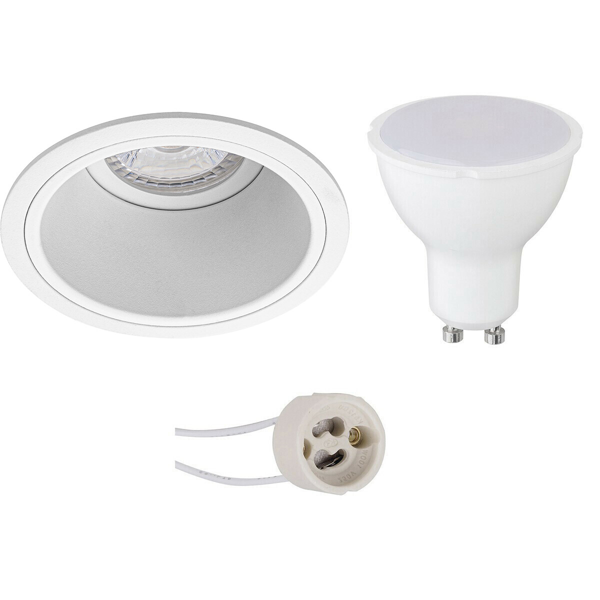 LED Spot Set - Aigi - Pragmi Minko Pro - GU10 Fitting - Inbouw Rond - Mat Wit - 6W - Warm Wit 3000K
