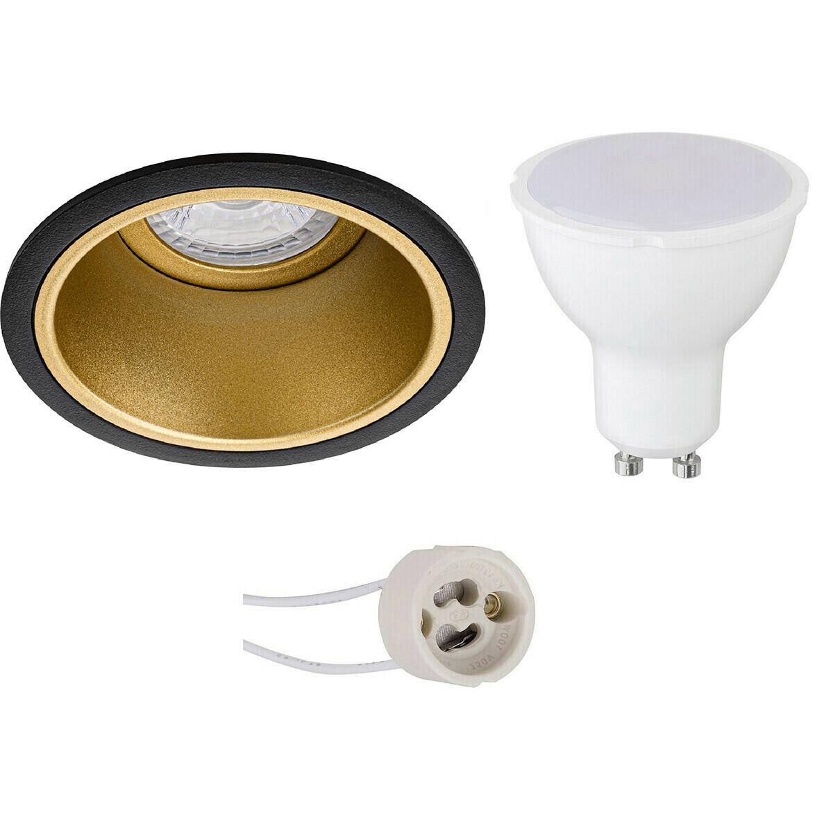 LED Spot Set - Aigi - Pragmi Minko Pro - GU10 Fitting - Inbouw Rond - Mat Zwart/Goud - 8W - Warm Wit