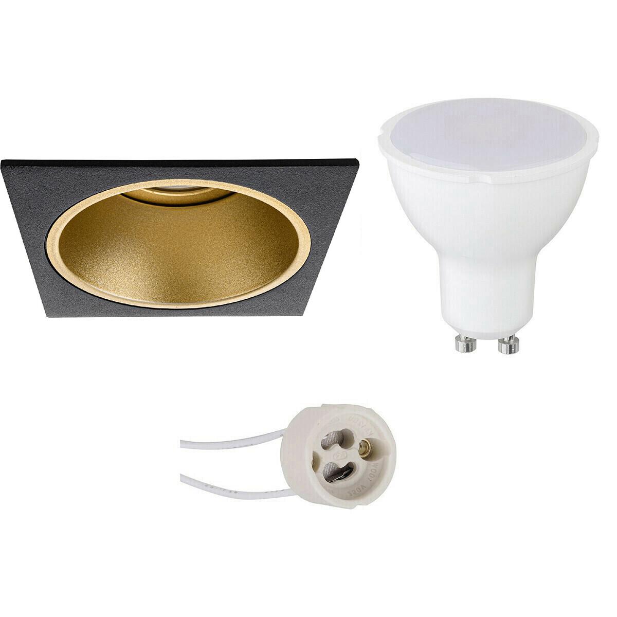 LED Spot Set - Pragmi Minko Pro - GU10 Fitting - Inbouw Vierkant - Mat Zwart/Goud - 8W - Natuurlijk