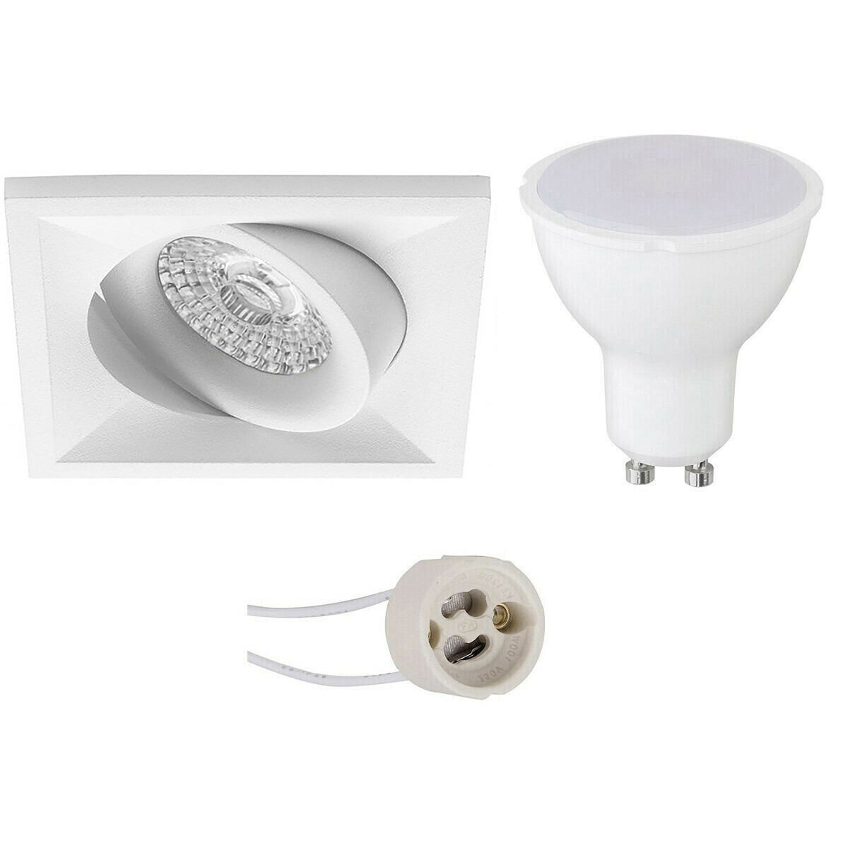 LED Spot Set - Pragmi Qiundo Pro - GU10 Fitting - Dimbaar - Inbouw Vierkant - Mat Wit - 6W - Natuurl