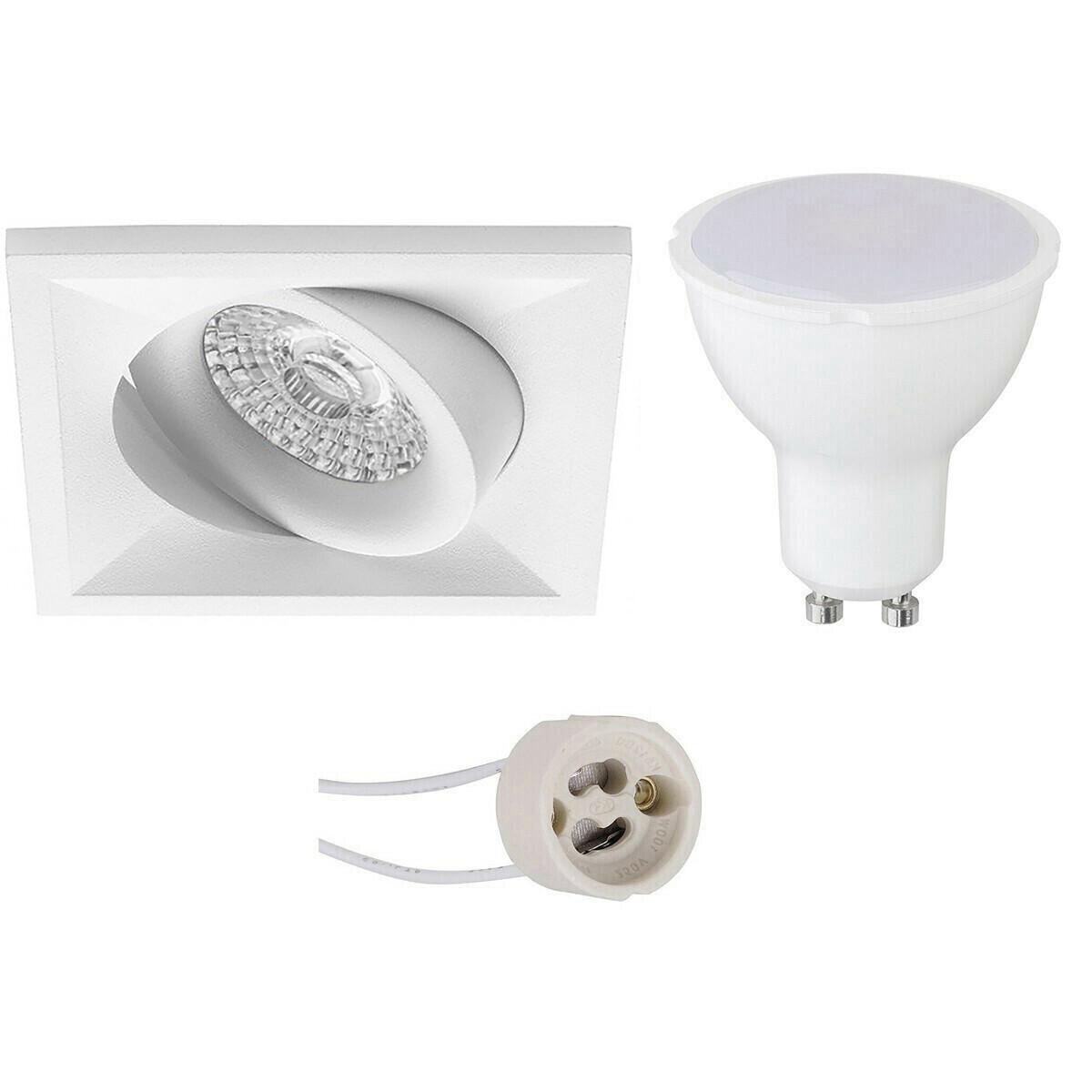 LED Spot Set - Aigi - Pragmi Qiundo Pro - GU10 Fitting - Inbouw Vierkant - Mat Wit - 8W - Warm Wit 3