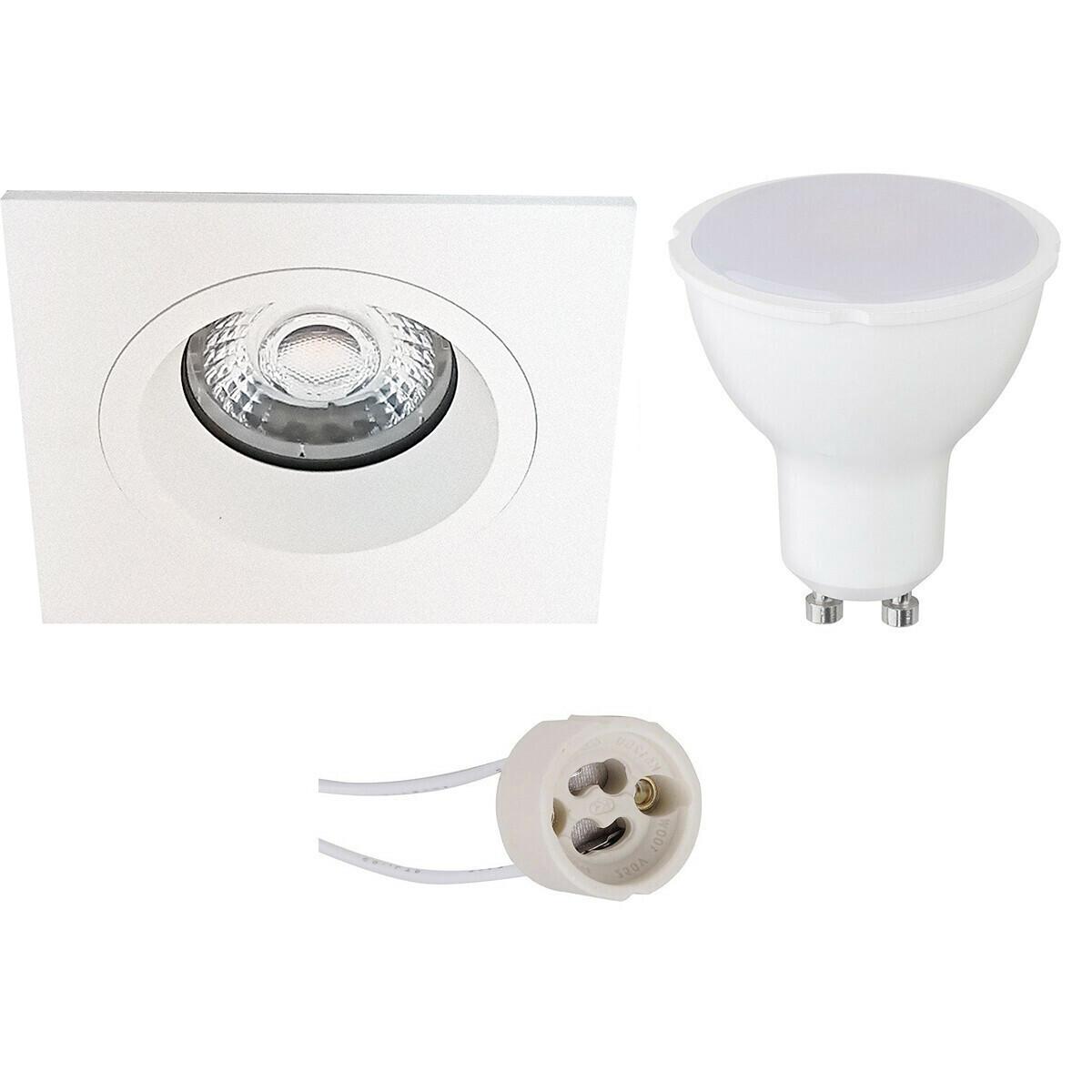 LED Spot Set - Aigi - Pragmi Rodos Pro - GU10 Fitting - Inbouw Vierkant - Mat Wit - 8W - Helder/Koud