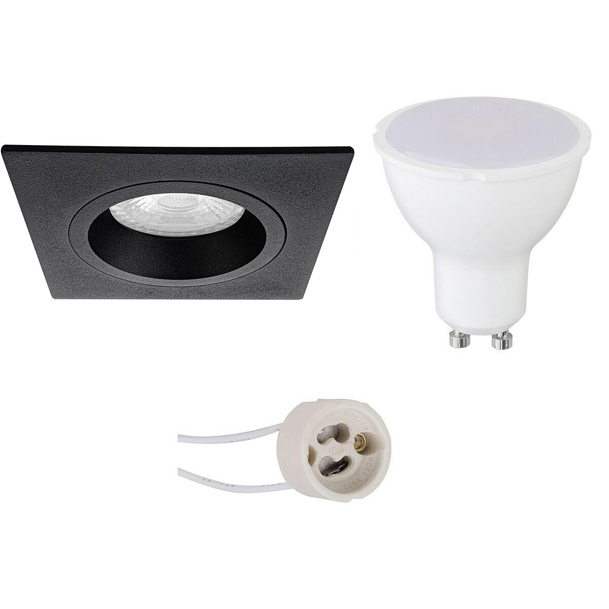LED Spot Set - Aigi - Pragmi Rodos Pro - GU10 Fitting - Inbouw Vierkant - Mat Zwart - 8W - Warm Wit