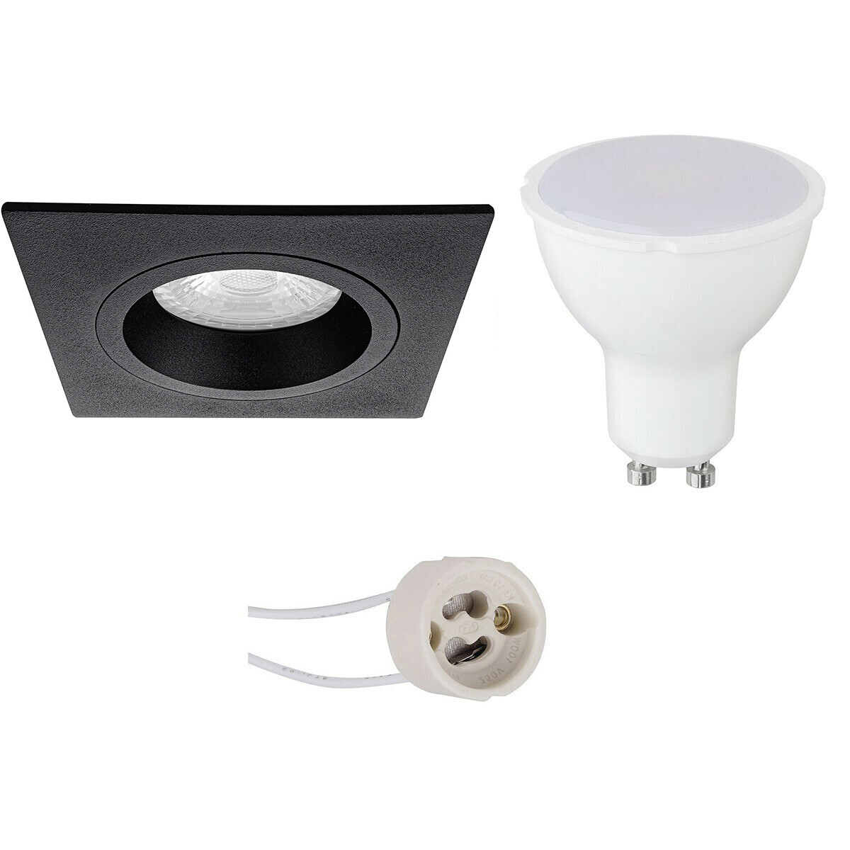 LED Spot Set - Aigi - Pragmi Rodos Pro - GU10 Fitting - Inbouw Vierkant - Mat Zwart - 8W - Helder/Ko