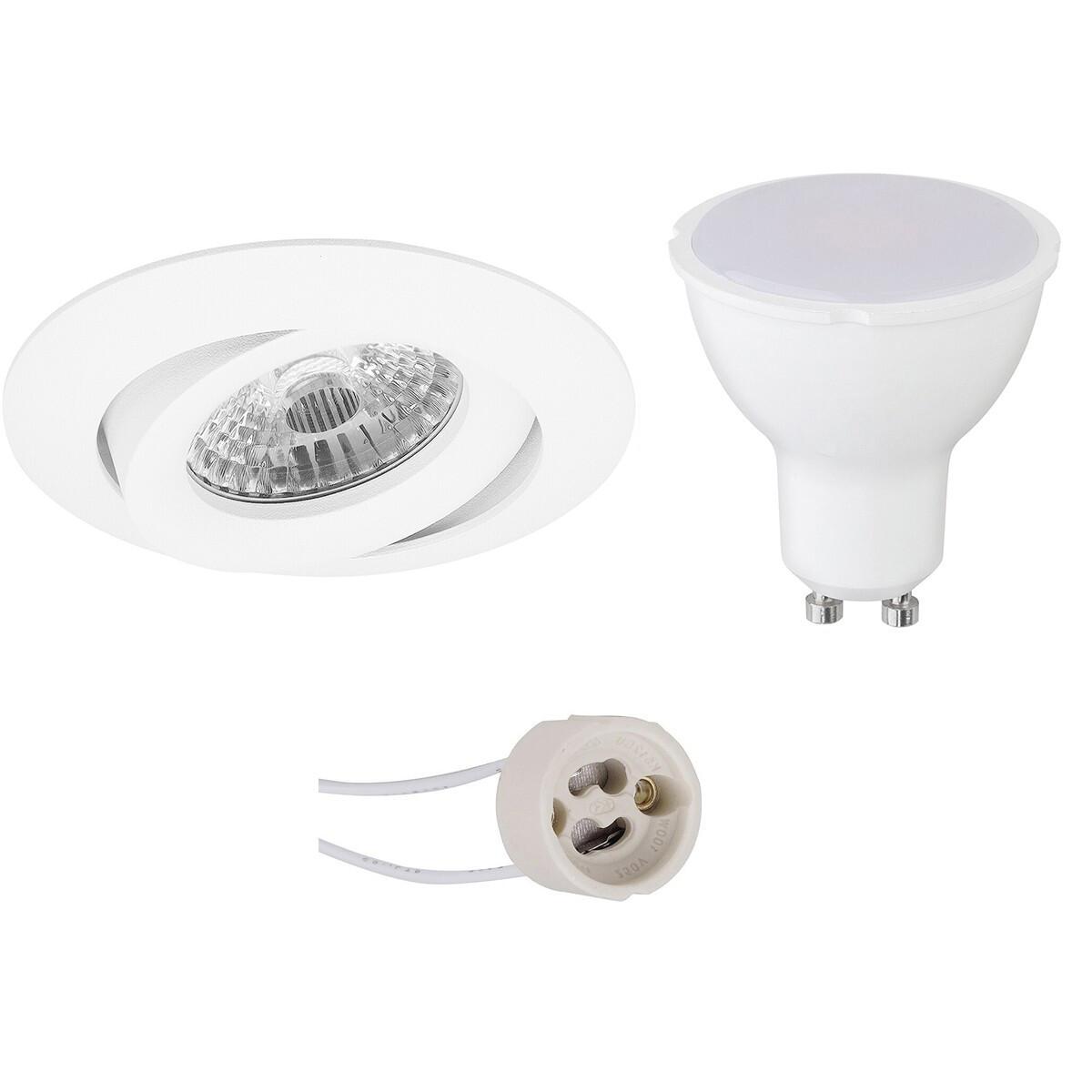 LED Spot Set - Pragmi Uranio Pro - GU10 Fitting - Dimbaar - Inbouw Rond - Mat Wit - 6W - Helder/Koud