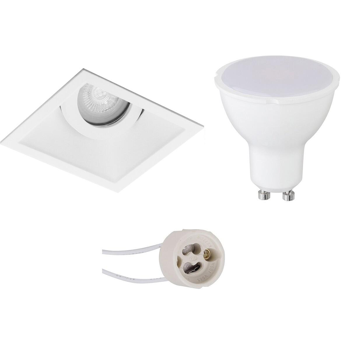 LED Spot Set - Pragmi Zano Pro - GU10 Fitting - Inbouw Vierkant - Mat Wit - 6W - Helder/Koud Wit 640