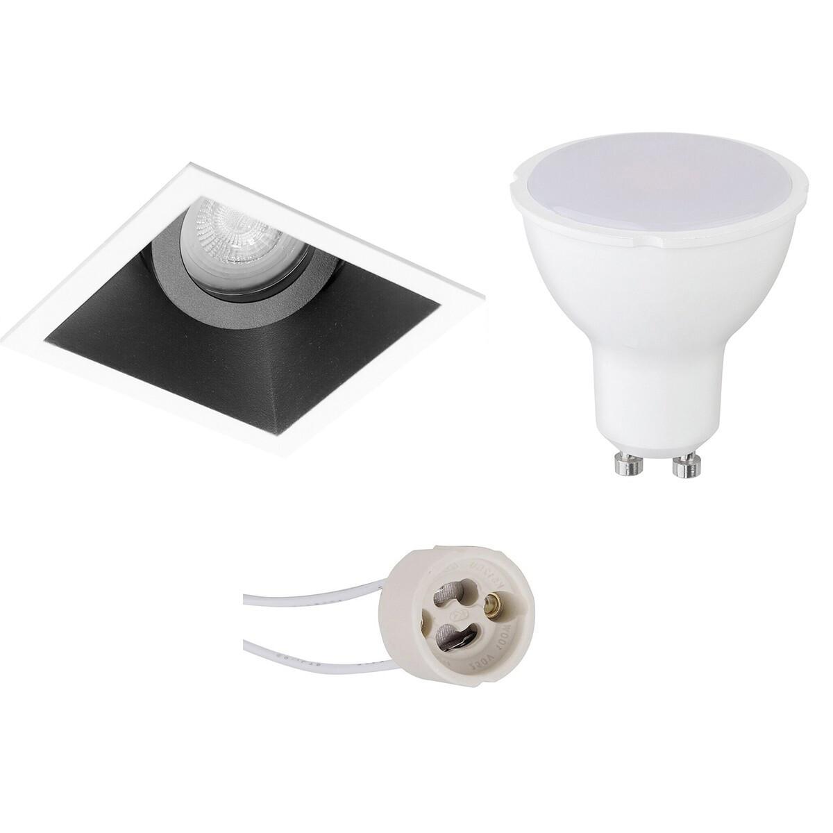 LED Spot Set - Pragmi Zano Pro - GU10 Fitting - Inbouw Vierkant - Mat Zwart/Wit - 6W - Helder/Koud W