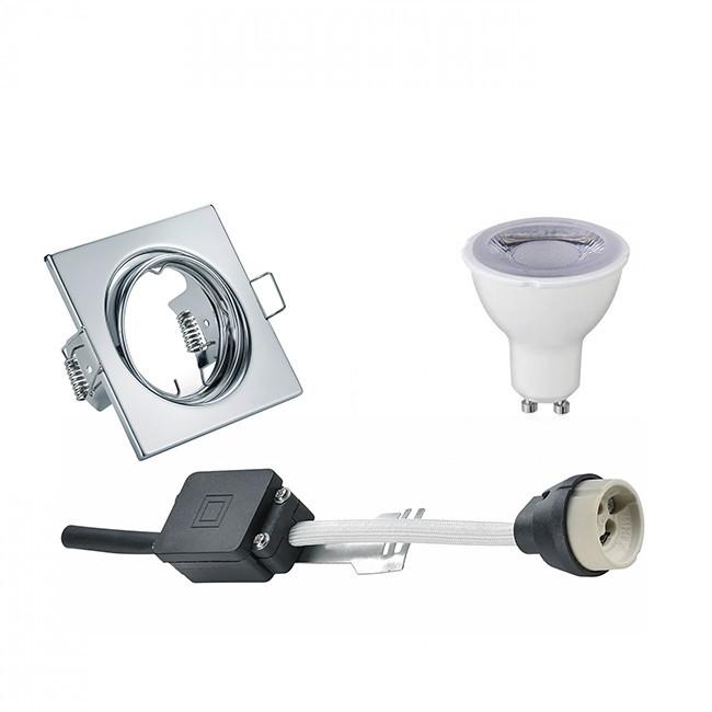 LED Spot Set - Trion - GU10 Fitting - Dimbaar - Inbouw Vierkant - Glans Chroom - 6W - Natuurlijk Wit