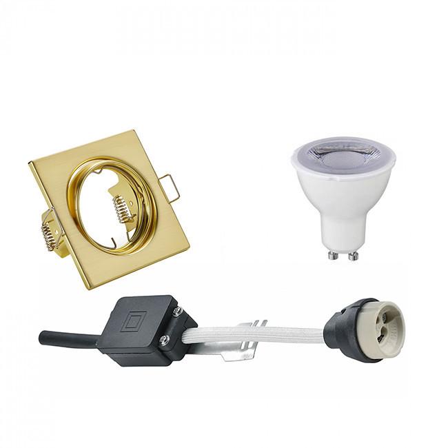 LED Spot Set - Trion - GU10 Fitting - Dimbaar - Inbouw Vierkant - Mat Goud - 6W - Helder/Koud Wit 64