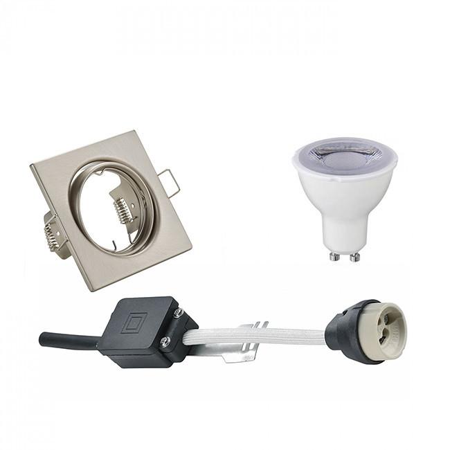 LED Spot Set - Trion - GU10 Fitting - Dimbaar - Inbouw Vierkant - Mat Nikkel - 6W - Warm Wit 3000K -
