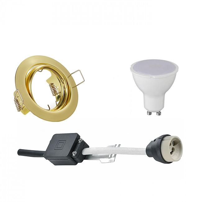 LED Spot Set - Trion - GU10 Fitting - Inbouw Rond - Mat Goud - 6W - Warm Wit 3000K - Kantelbaar Ø83m