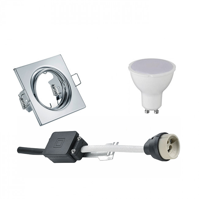 LED Spot Set - Trion - GU10 Fitting - Inbouw Vierkant - Glans Chroom - 6W - Natuurlijk Wit 4200K - K