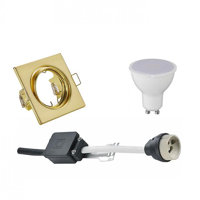 LED Spot Set - Trion - GU10 Fitting - Inbouw Vierkant - Mat Goud - 6W - Natuurlijk Wit 4200K - Kante