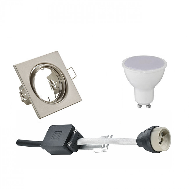 LED Spot Set - Trion - GU10 Fitting - Inbouw Vierkant - Mat Nikkel - 6W - Warm Wit 3000K - Kantelbaa