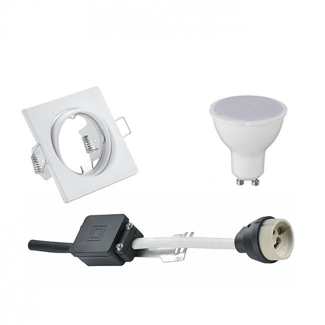 LED Spot Set - Trion - GU10 Fitting - Inbouw Vierkant - Mat Wit - 6W - Natuurlijk Wit 4200K - Kantel