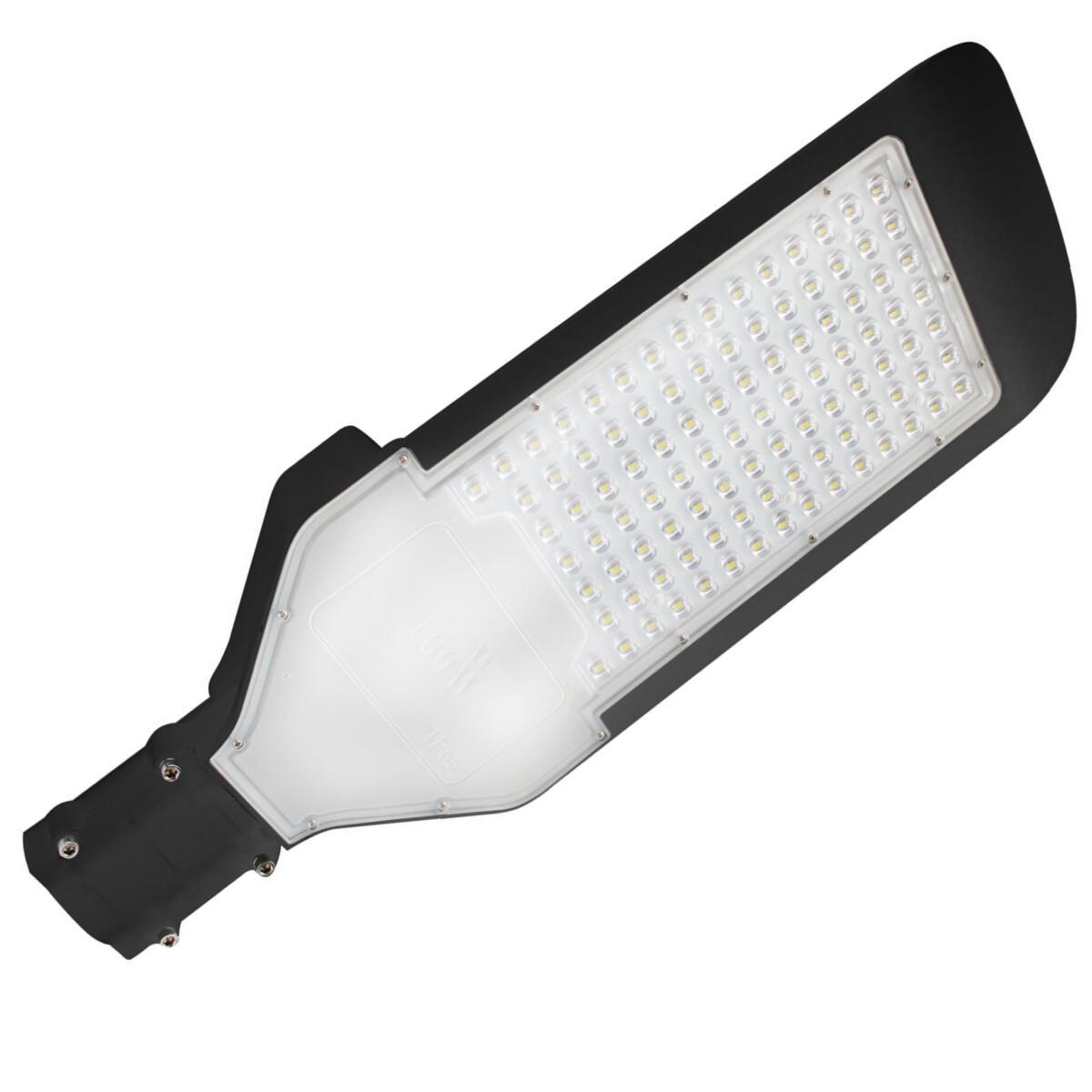 LED Straatlamp - Orny - 100W - Helder/Koud Wit 6400K - Waterdicht IP65 - Mat Zwart - Aluminium