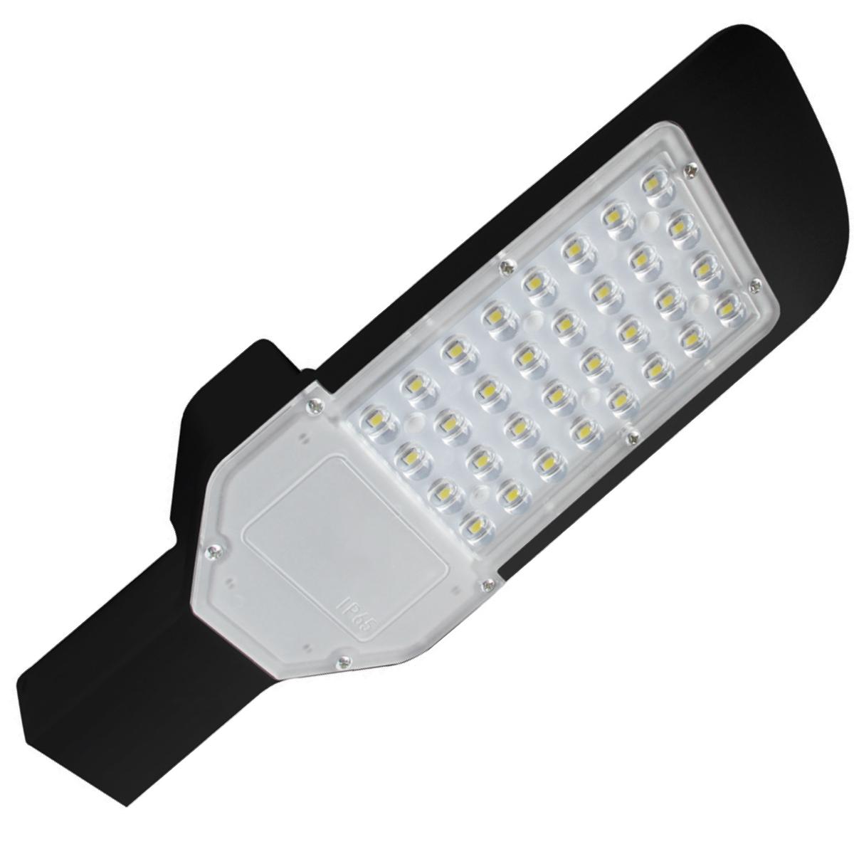 LED Straatlamp - Orny - 30W - Helder/Koud Wit 6400K - Waterdicht IP65 - Mat Zwart - Aluminium