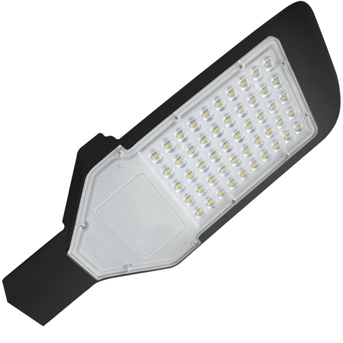 LED Straatlamp - Orny - 50W - Helder/Koud Wit 6400K - Waterdicht IP65 - Mat Zwart - Aluminium