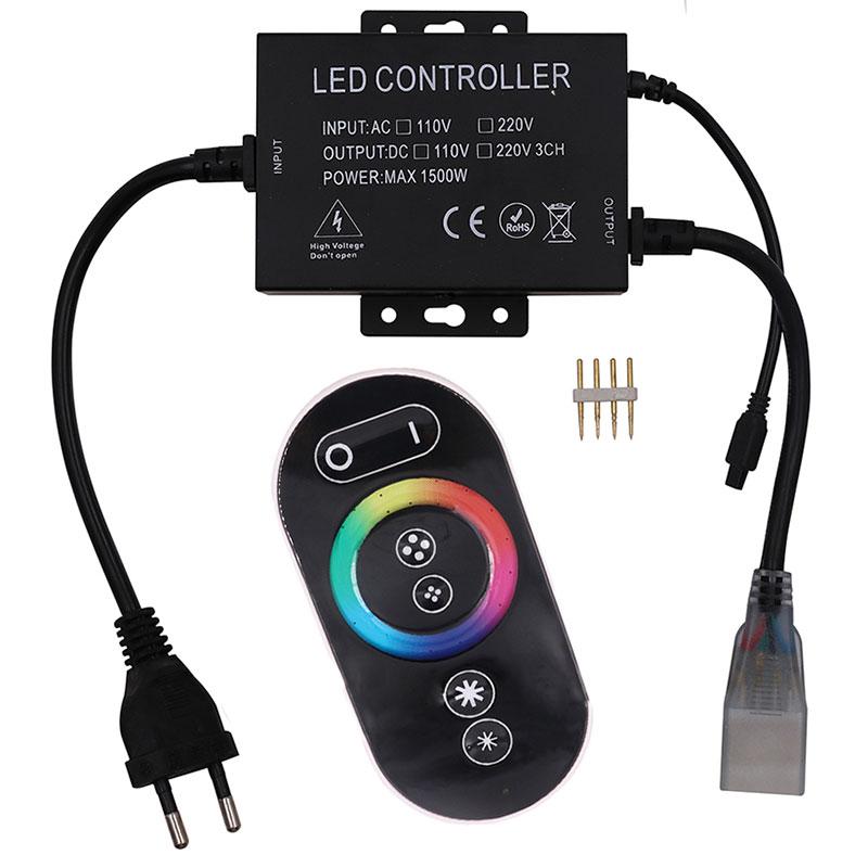 LED Strip Afstandsbediening Set 1500W - RGB - Touch - Dimbaar - IP65 Waterdicht - 230V