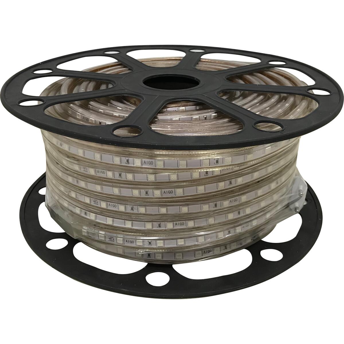 LED Strip - Aigi Strabo - 50 Meter - Dimbaar - IP65 Waterdicht - Groen - 5050 SMD 230V