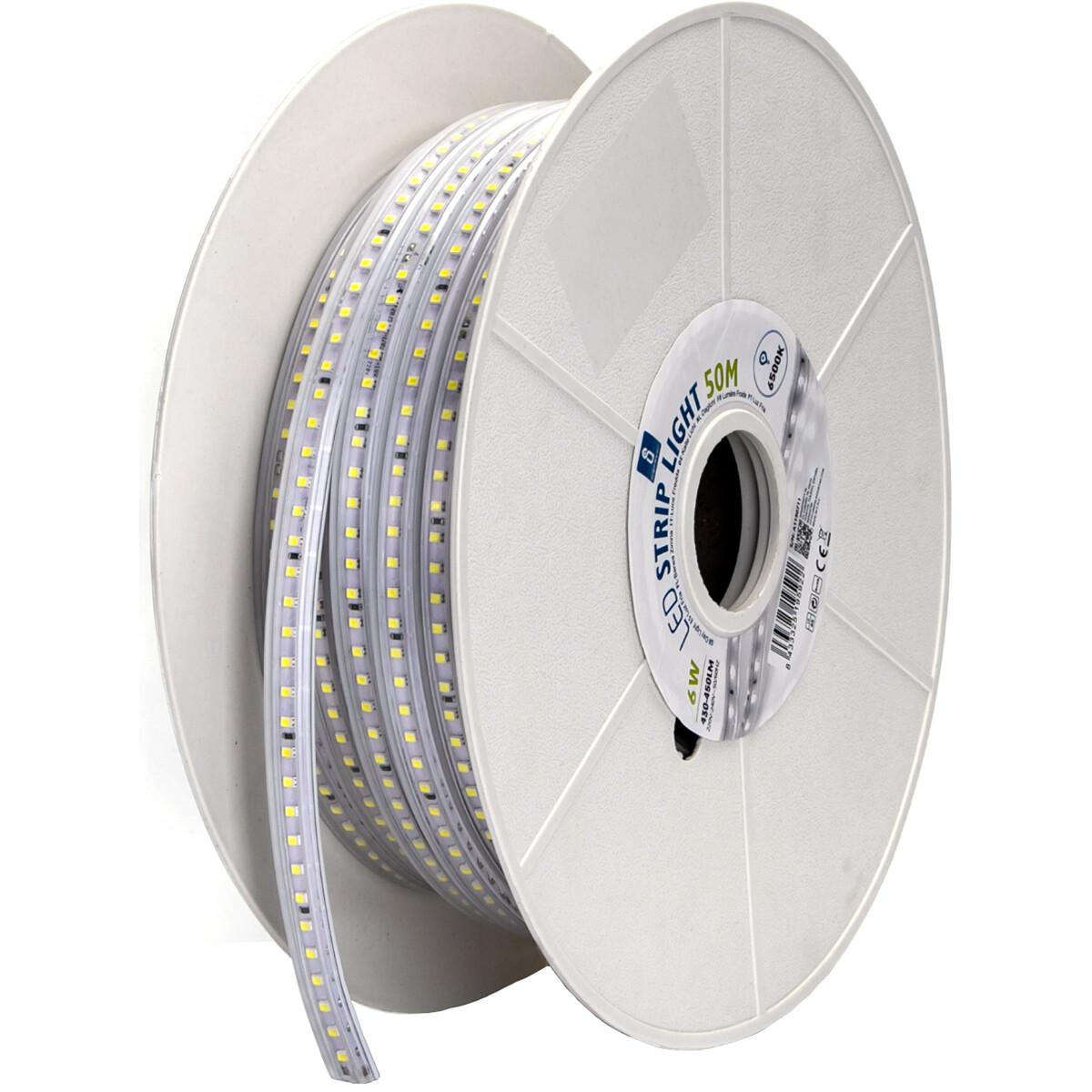 LED Strip - Aigi Stribo - 50 Meter - Dimbaar - IP65 Waterdicht - Helder/Koud Wit 6500K - 2835 SMD 23