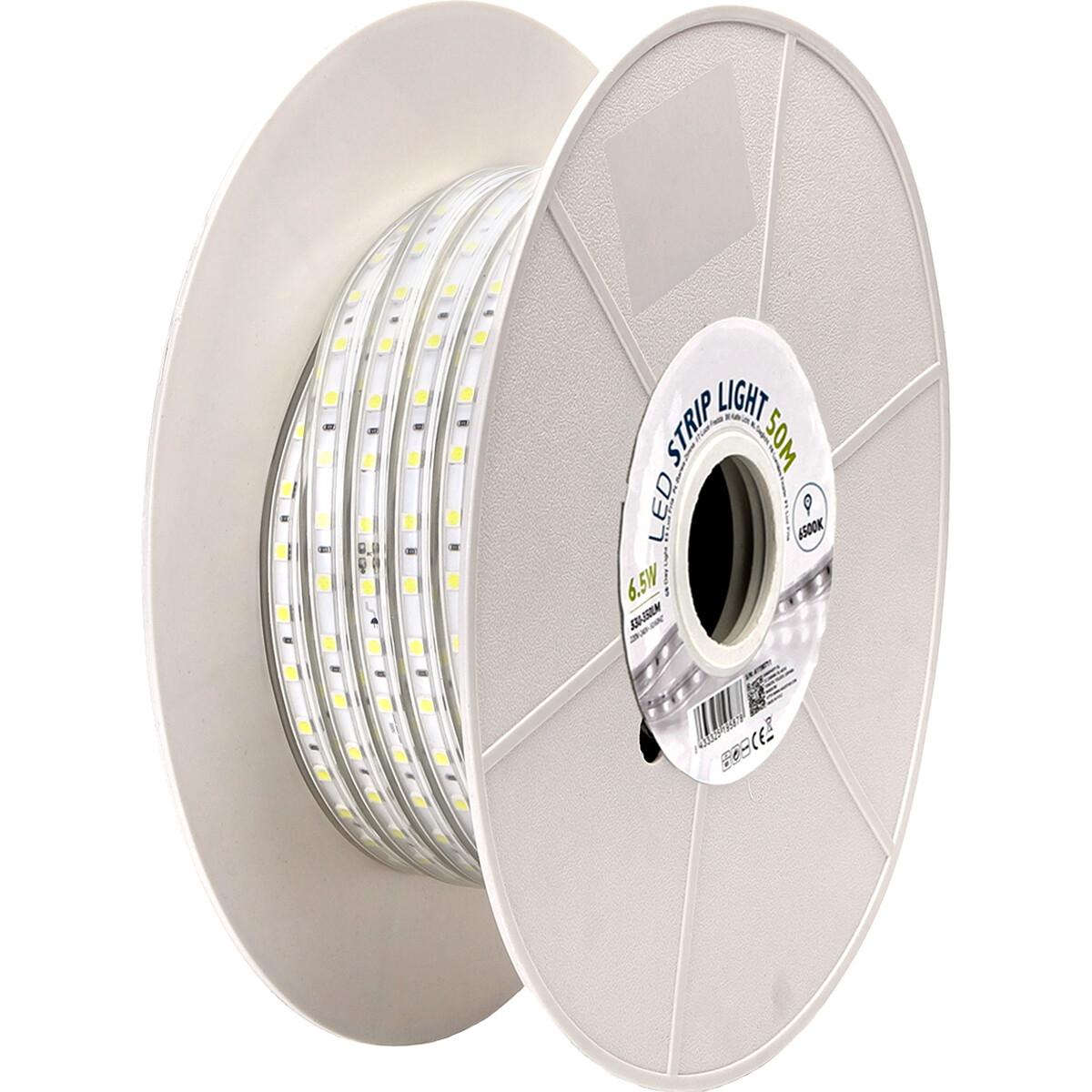 LED Strip - Aigi Stribo - 50 Meter - Dimbaar - IP65 Waterdicht - Helder/Koud Wit 6500K - 5050 SMD 23