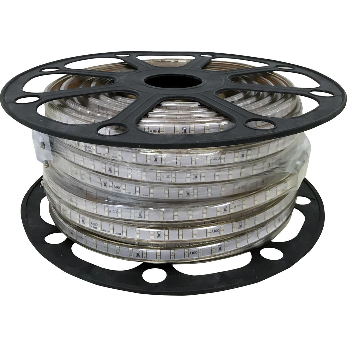 LED Strip - Aigi Strobi - 50 Meter - Dimbaar - IP65 Waterdicht - Blauw - 2835 SMD 230V