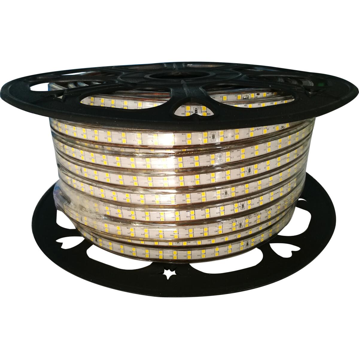 LED Strip - Aigi Strobi - 50 Meter - Dimbaar - IP65 Waterdicht - Warm Wit 3000K - 2835 SMD 230V