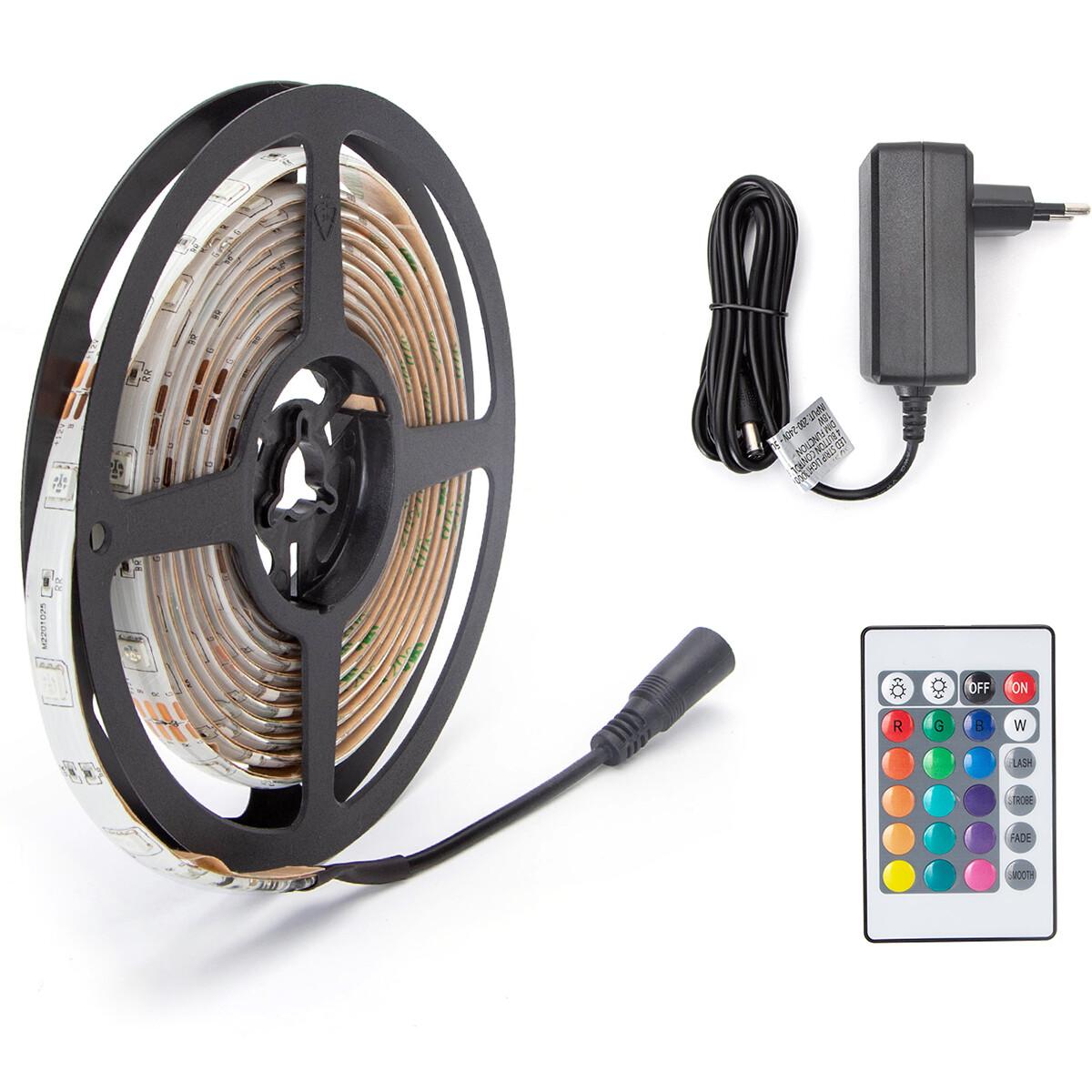 LED Strip Set - Aigi Stippi - 3 Meter - 5050-30 - RGB - Waterdicht IP65 - Afstandsbediening - 12V