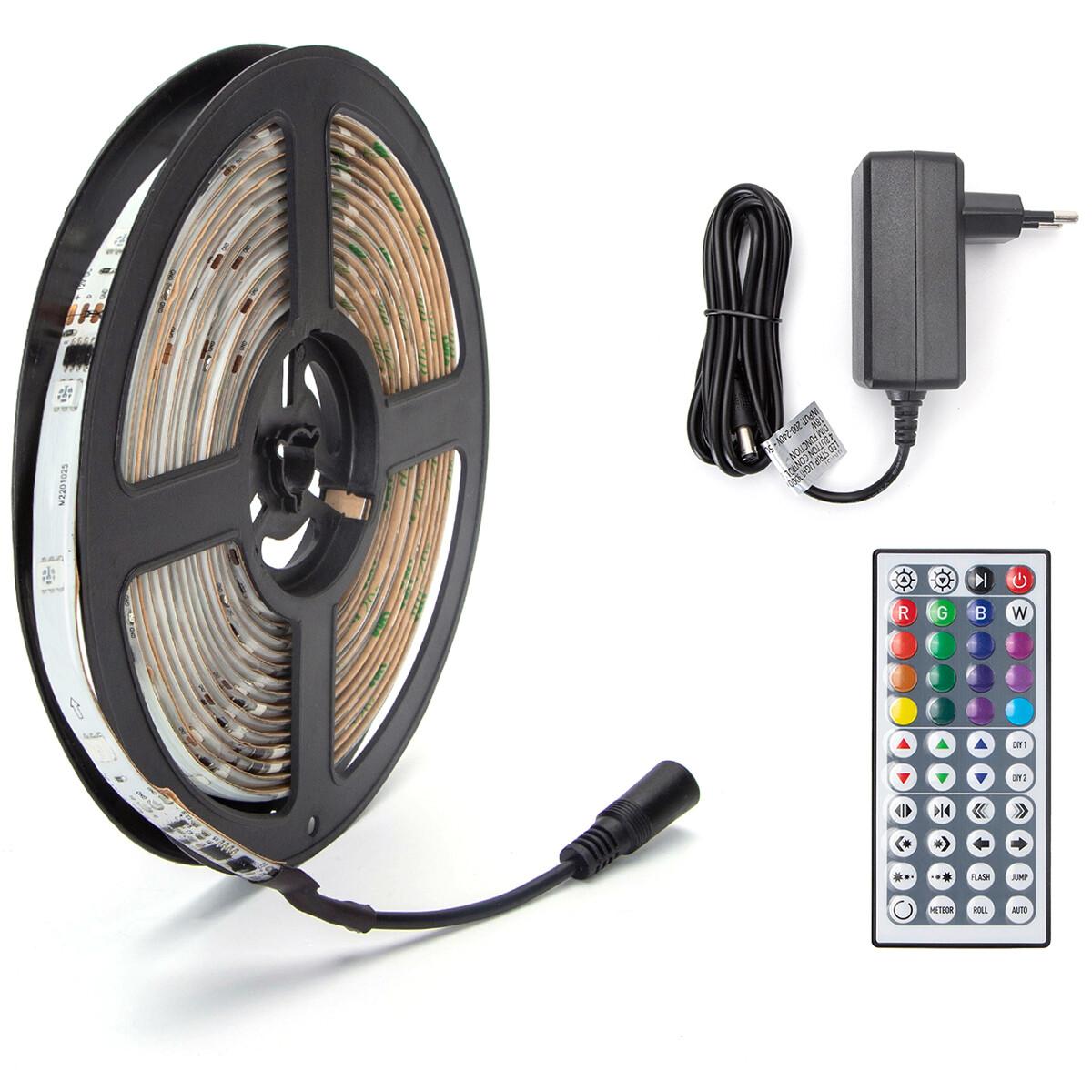 LED Strip Set Digitaal - Aigi Stippi - 5 Meter - 5050-30 - RGB - Waterdicht IP65 - Afstandsbediening