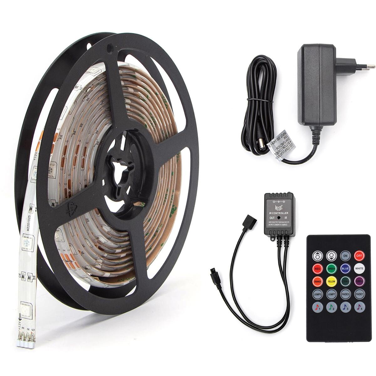 LED Strip Set Muziek Sync - Aigi Stippi - 3 Meter - 5050-30 - RGB - Waterdicht IP65 - Afstandsbedien