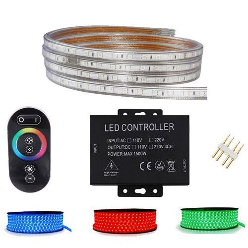 LED Strip Set RGB - 1 Meter - Dimbaar - IP65 Waterdicht - Touch Afstandsbediening - 230V